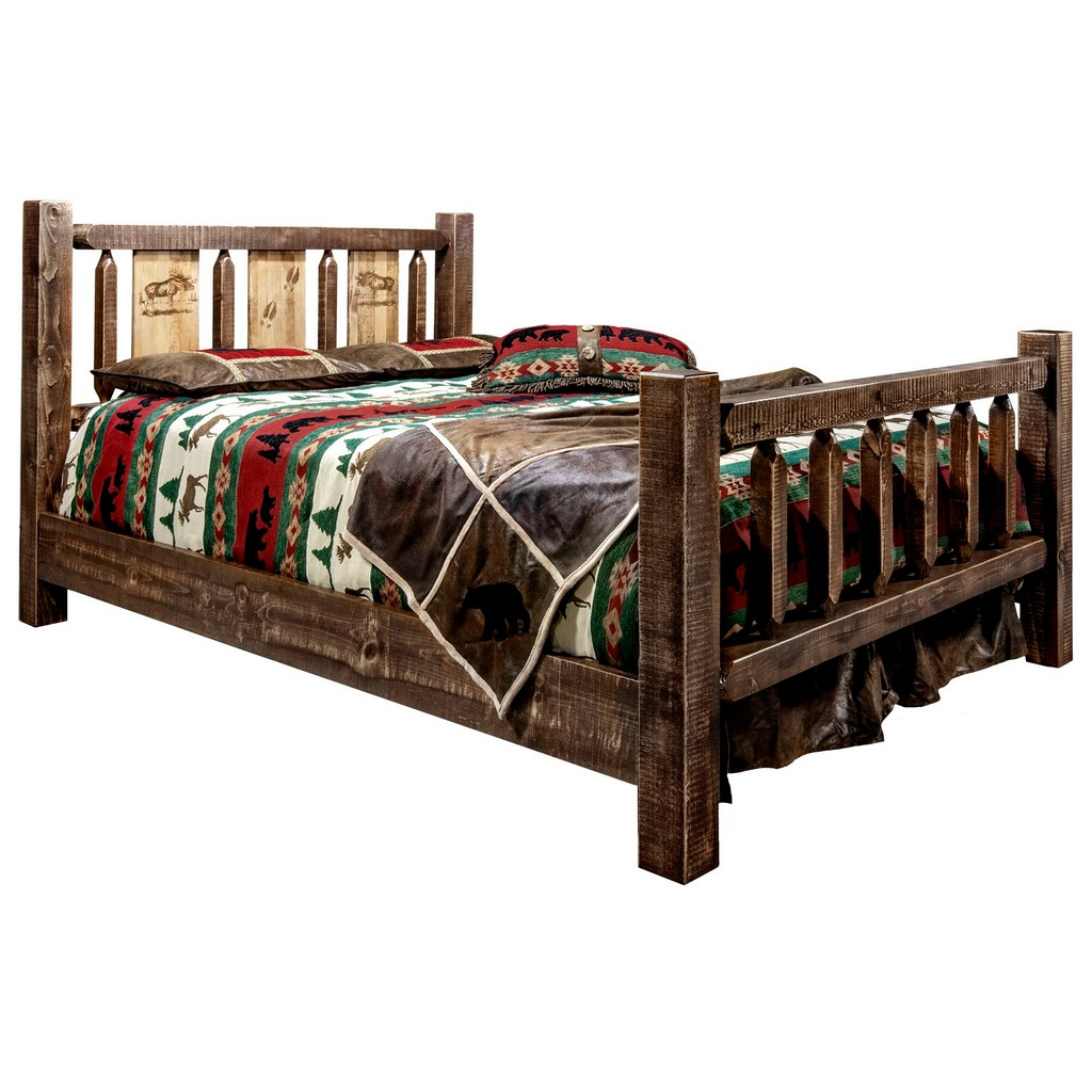 Full Bed Engraved Moose Stain Clear Lacquer