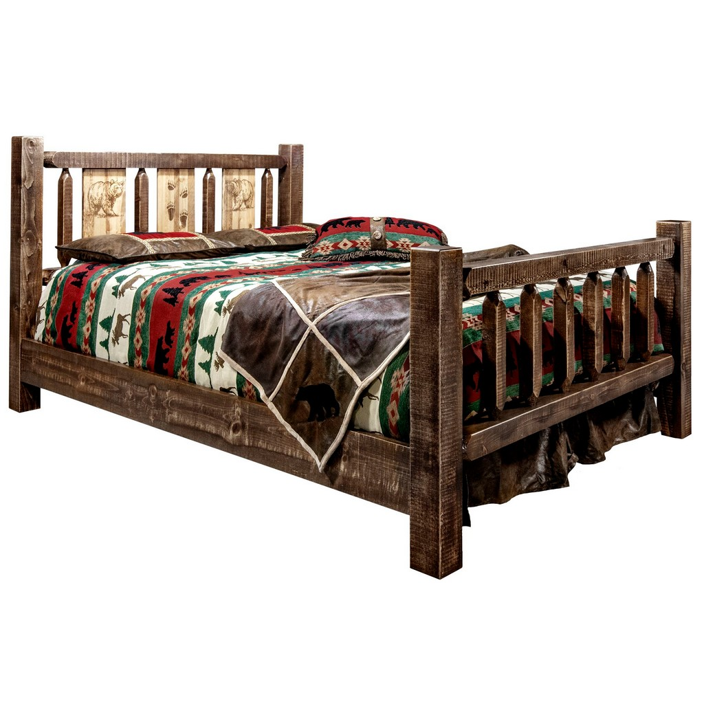 King Bed Engraved Bear Stain Clear Lacquer