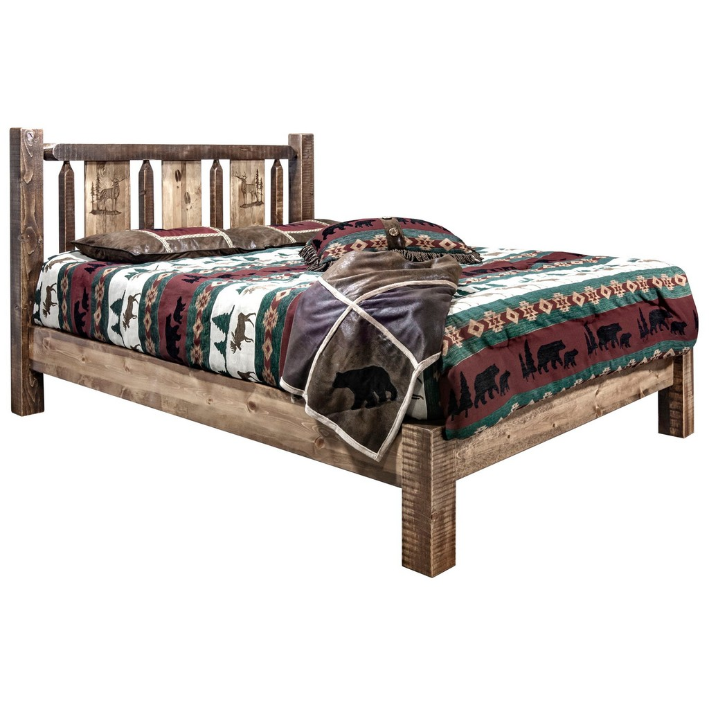 Full Platform Bed Engraved Elk Stain Clear Lacquer