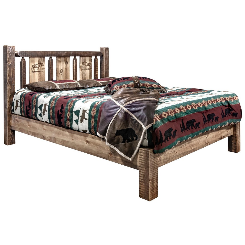Twin Platform Bed Engraved Moose Stain Clear Lacquer