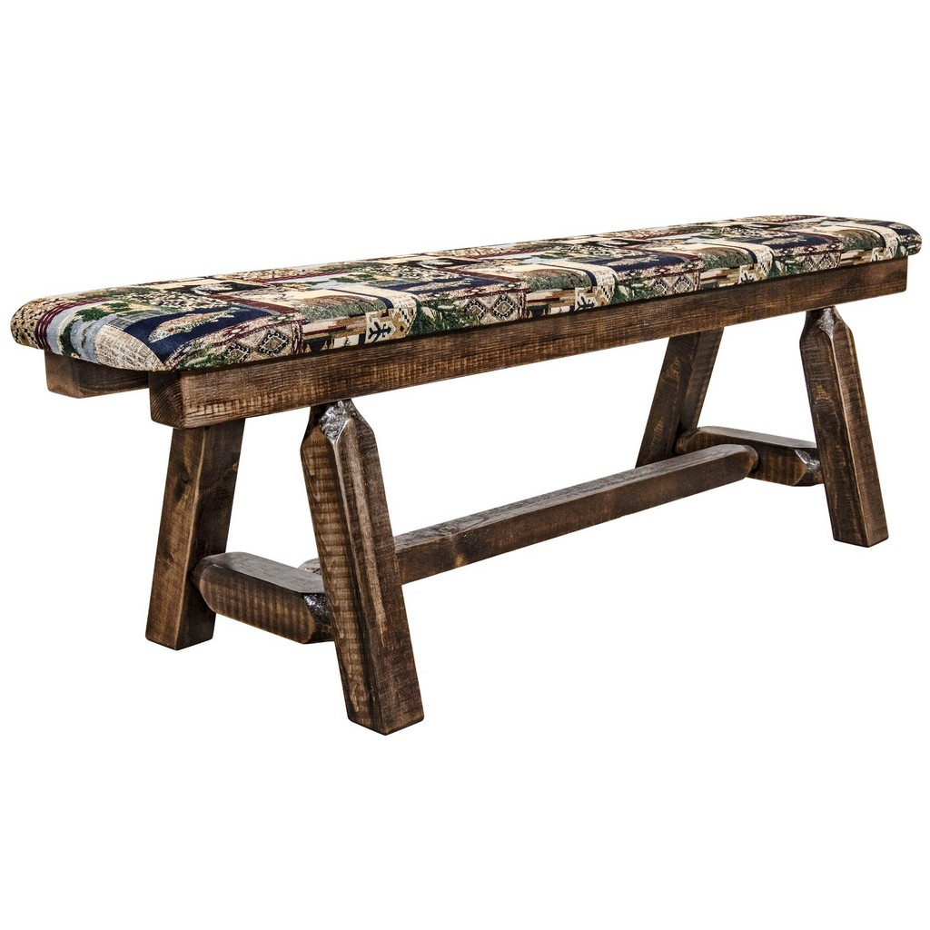 Montana Plank Bench Stain Clear Lacquer Foot Woodland Upholstery