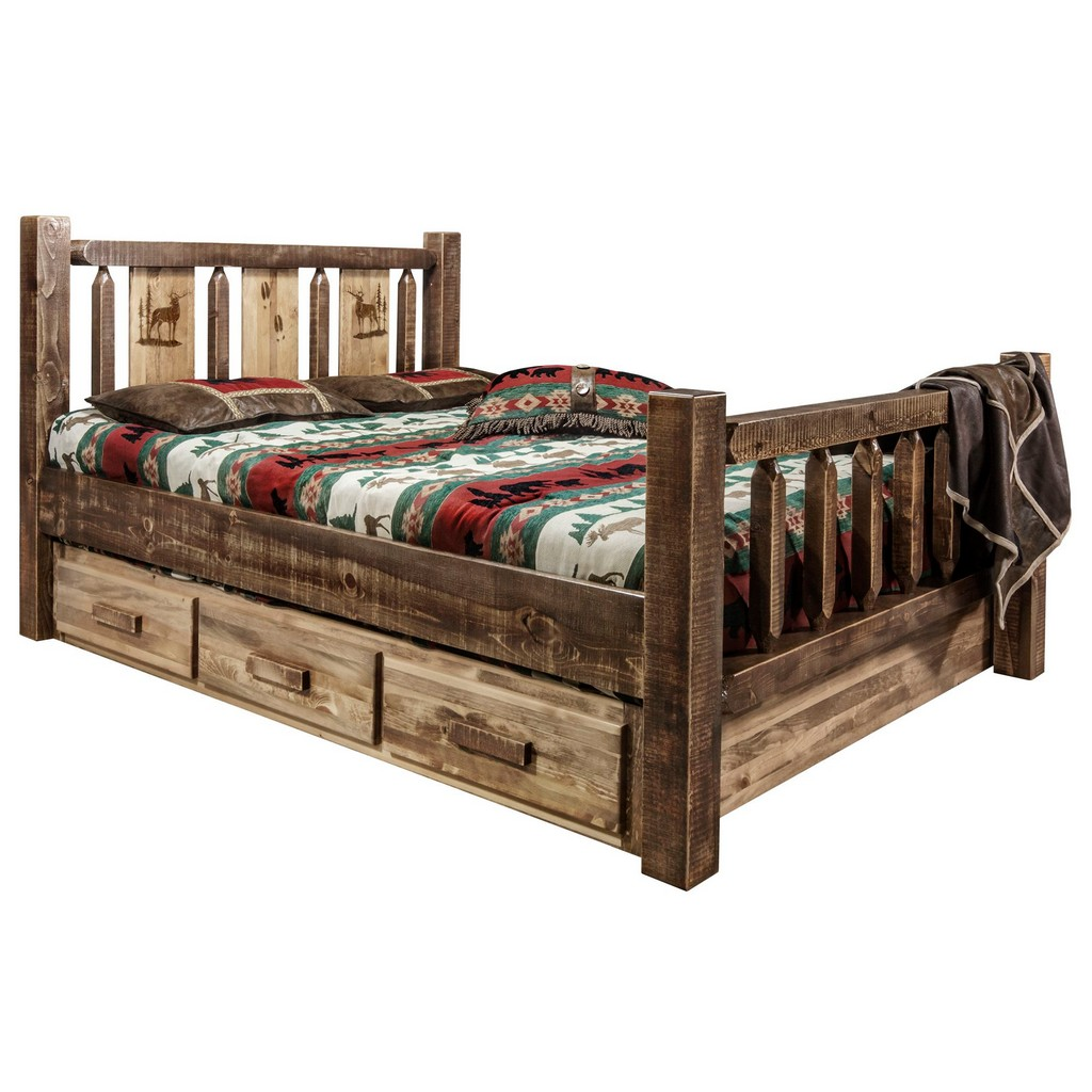 Full Storage Bed Engraved Elk Stain Clear Lacquer