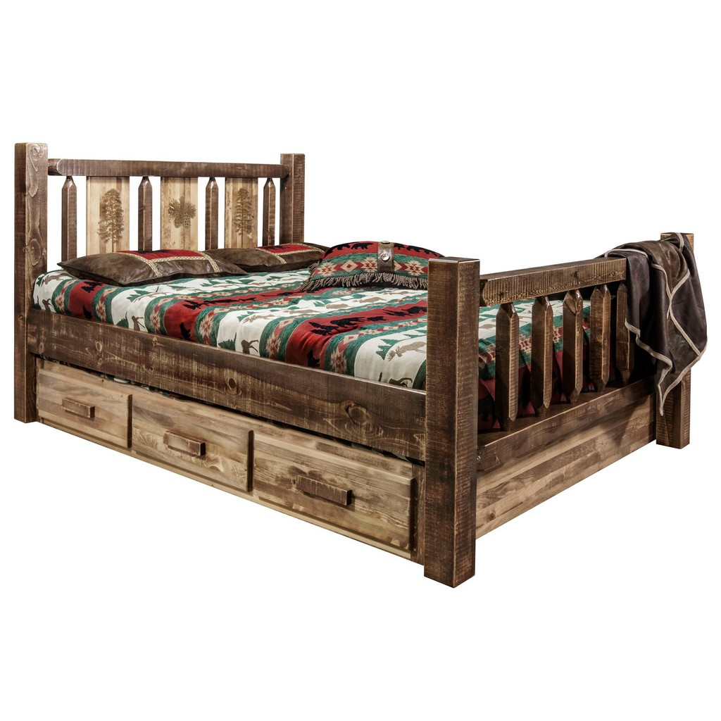 Queen Storage Bed Engraved Pine Stain Clear Lacquer