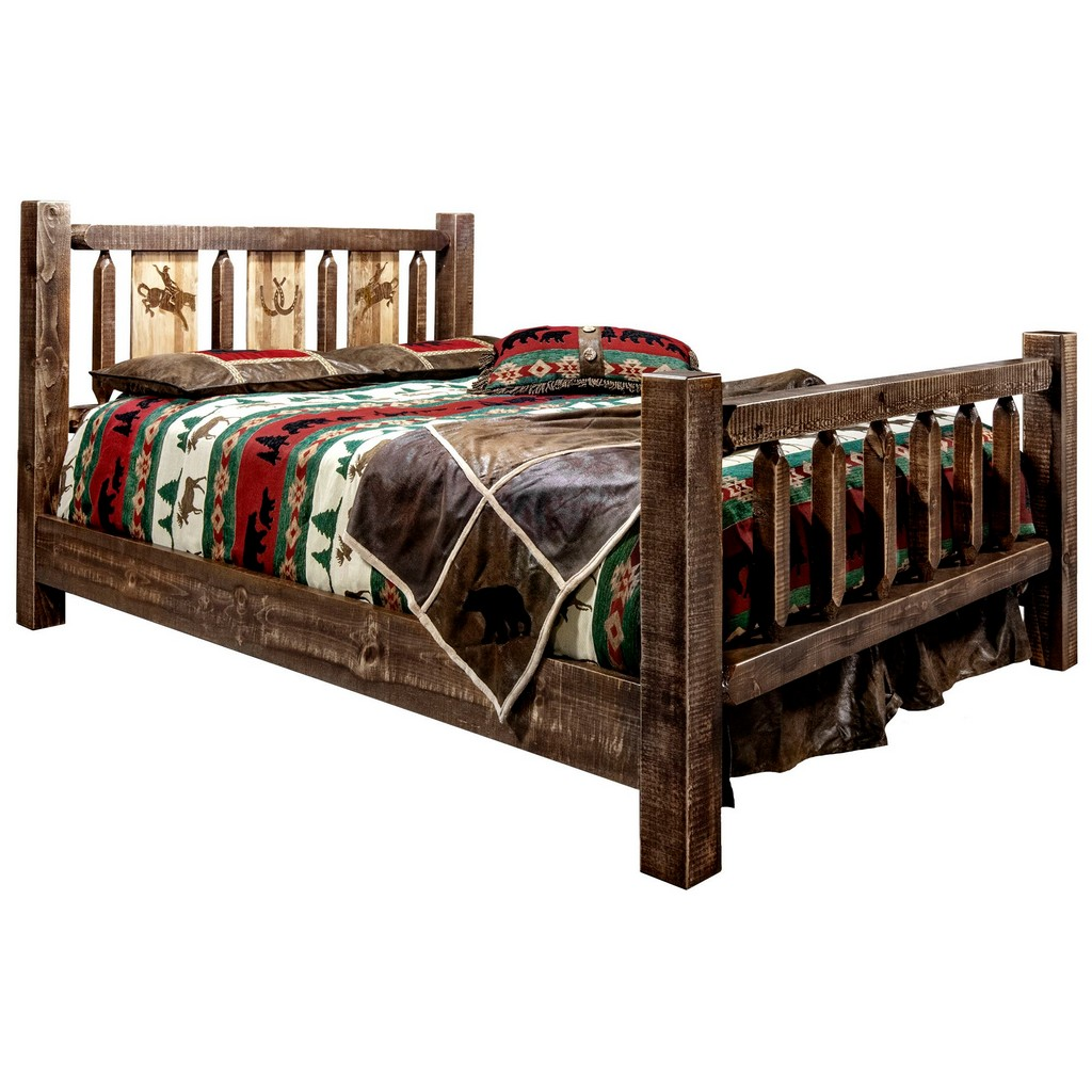 Twin Bed Engraved Bronc Stain Clear Lacquer