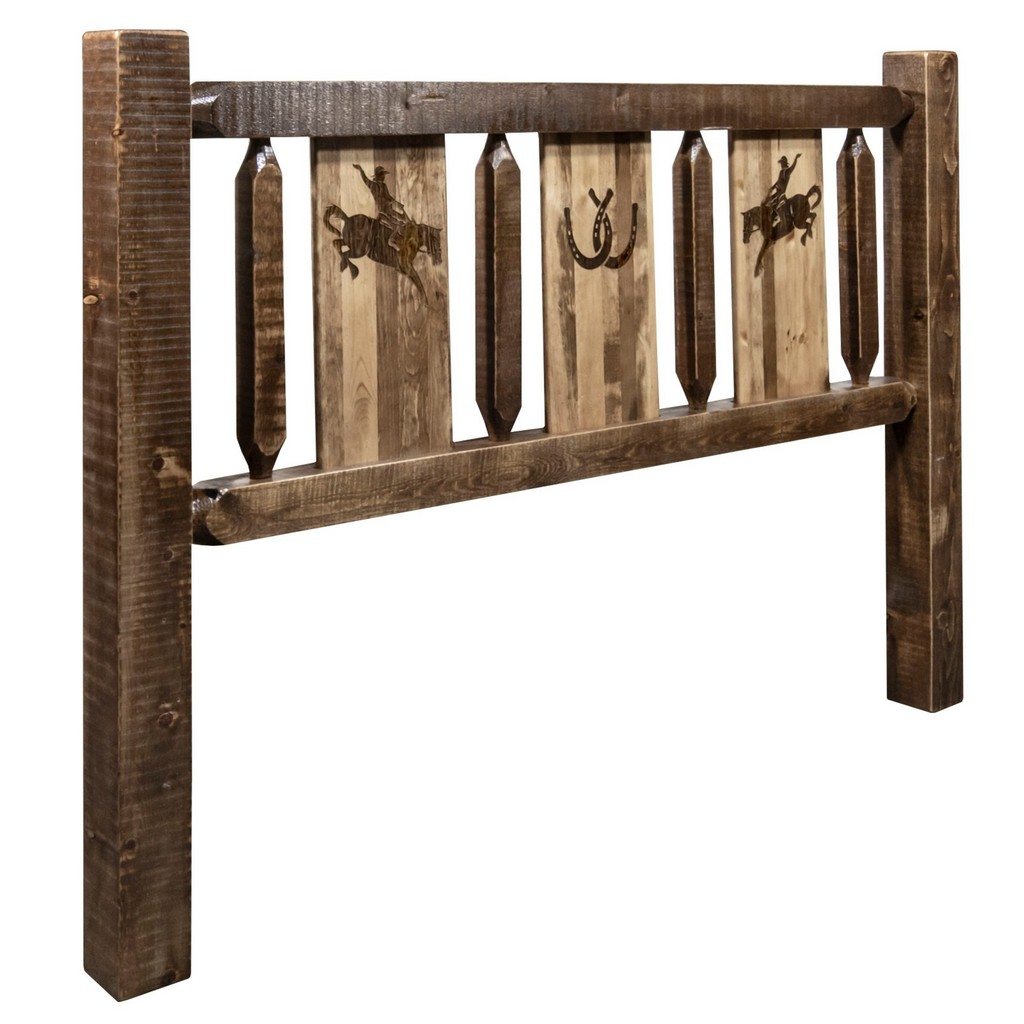 Twin Headboard Engraved Bronc Stain Clear Lacquer