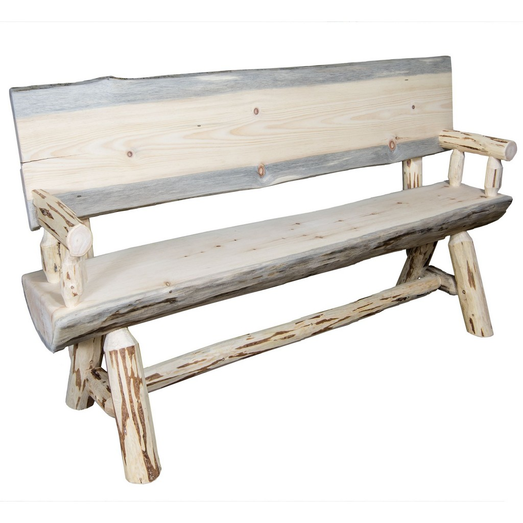 Half Log Bench Back Arms Clear Lacquer Foot