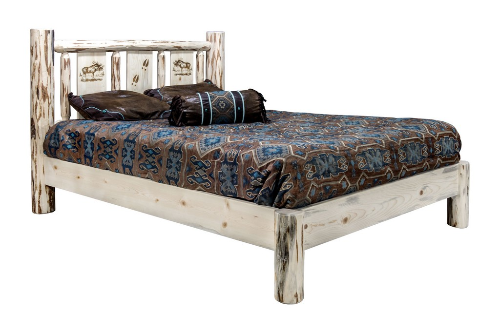 Montana California King Platform Bed Engraved Moose Design