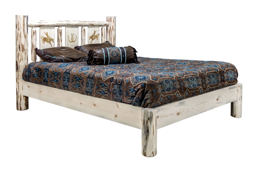 Montana King Platform Bed Engraved Bronc Clear Lacquer