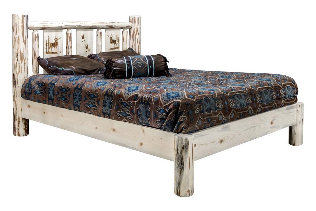 Montana King Platform Bed Engraved Elk Clear Lacquer