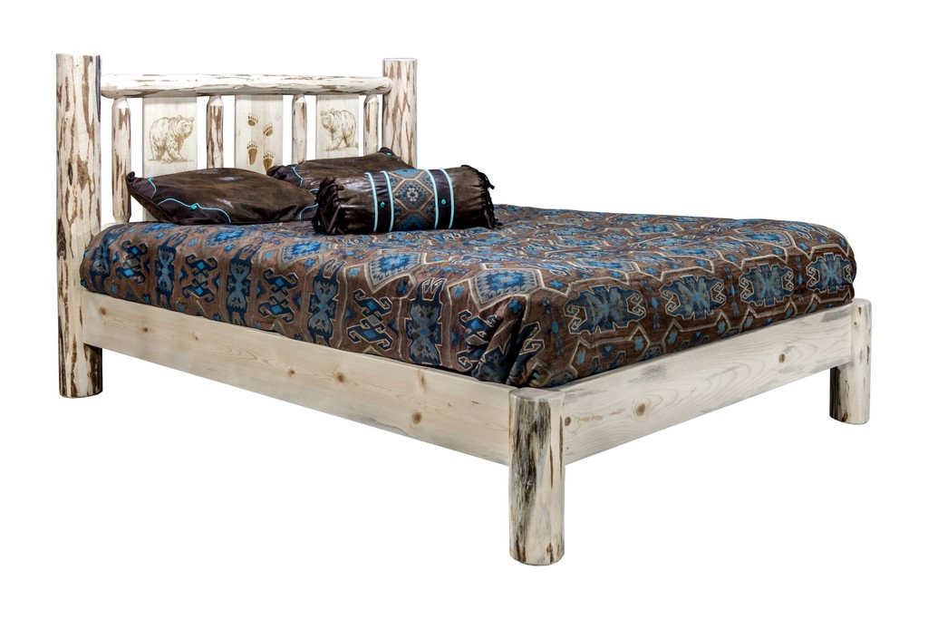 Queen Platform Bed Engraved Bear Clear Lacquer