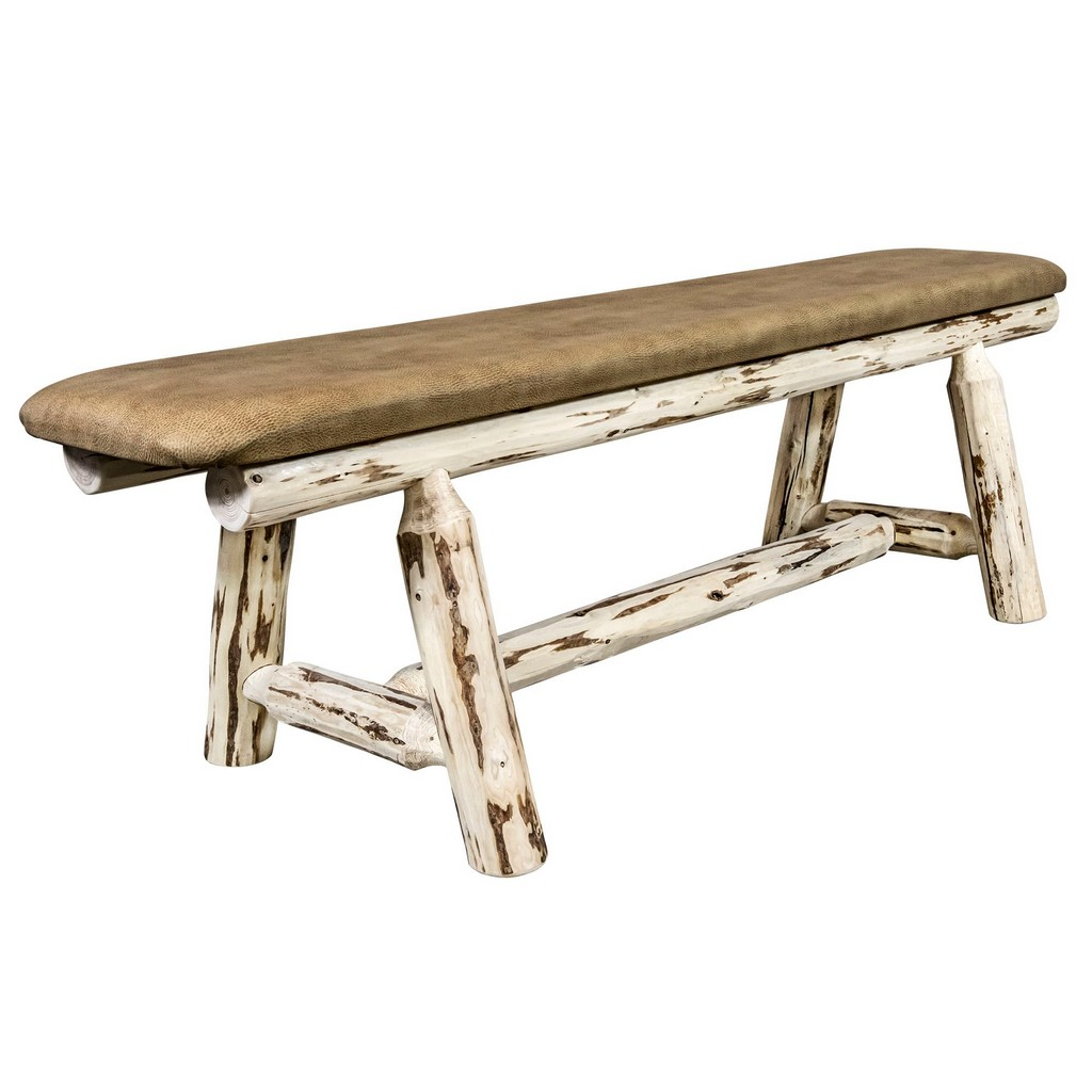 Plank Bench Clear Lacquer Foot Buckskin Upholstery