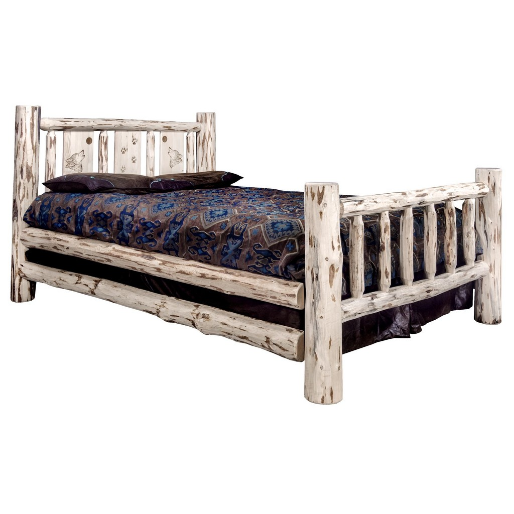 Queen Bed Engraved Wolf Design