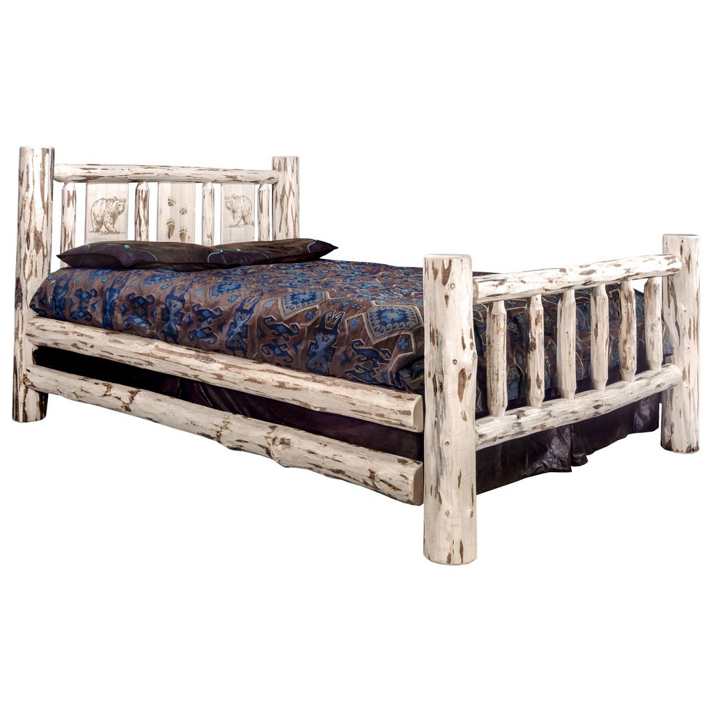 Montana Queen Bed Engraved Bear Clear Lacquer