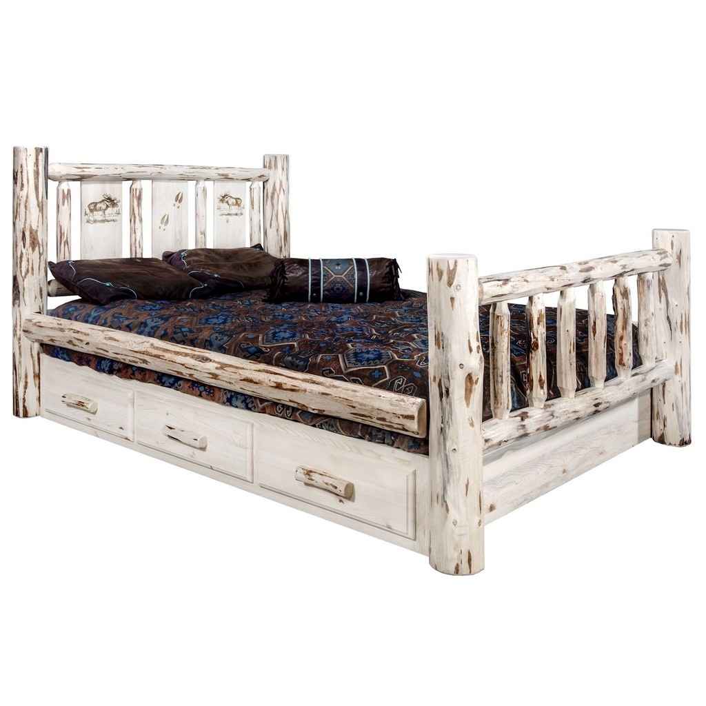 California King Storage Bed Engraved Moose Clear Lacquer