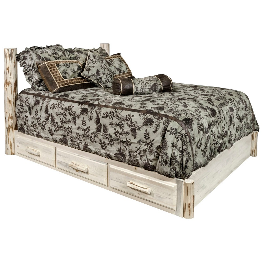Full Platform Bed Storage Clear Lacquer