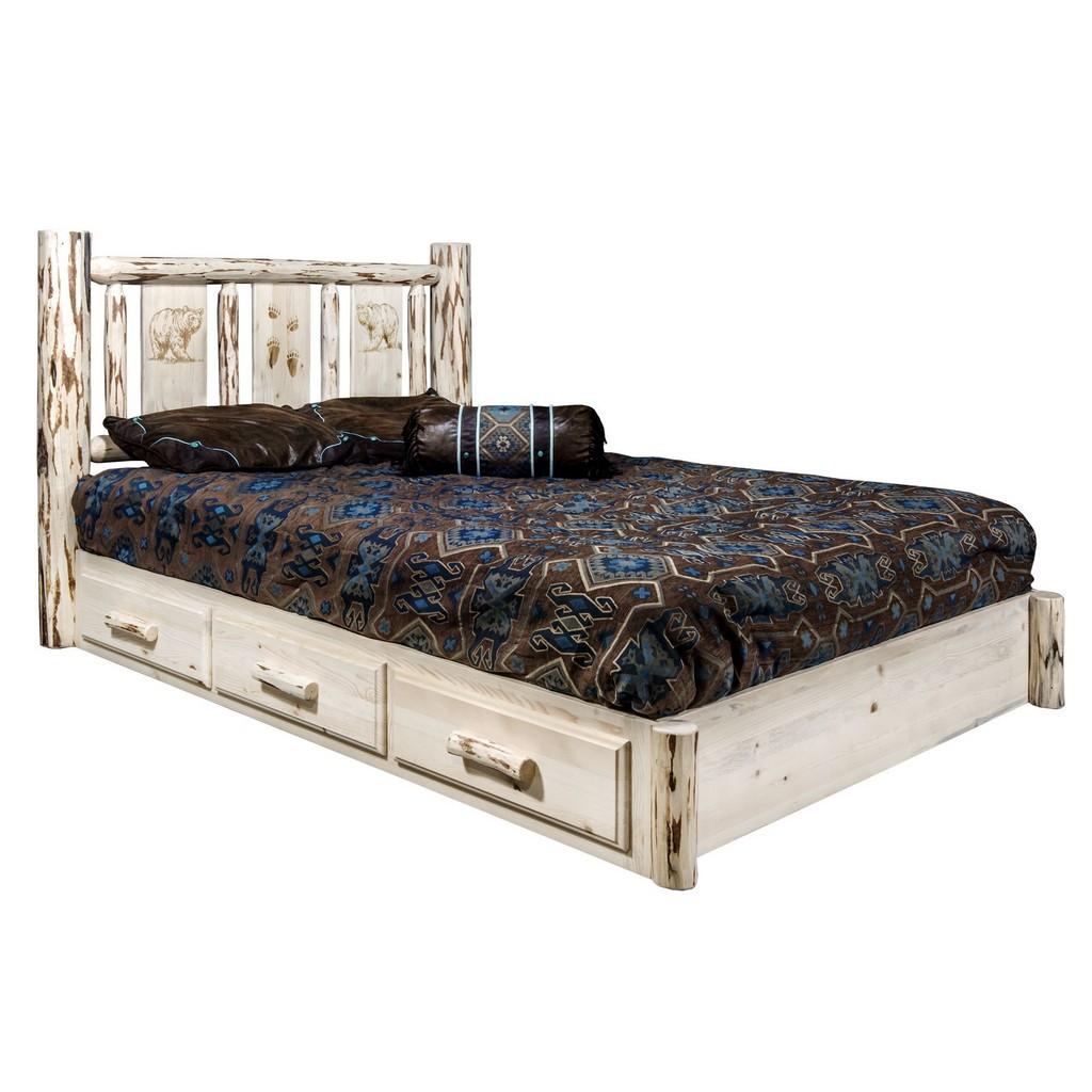 Platform Bed Storage Twin Engraved Bear Design