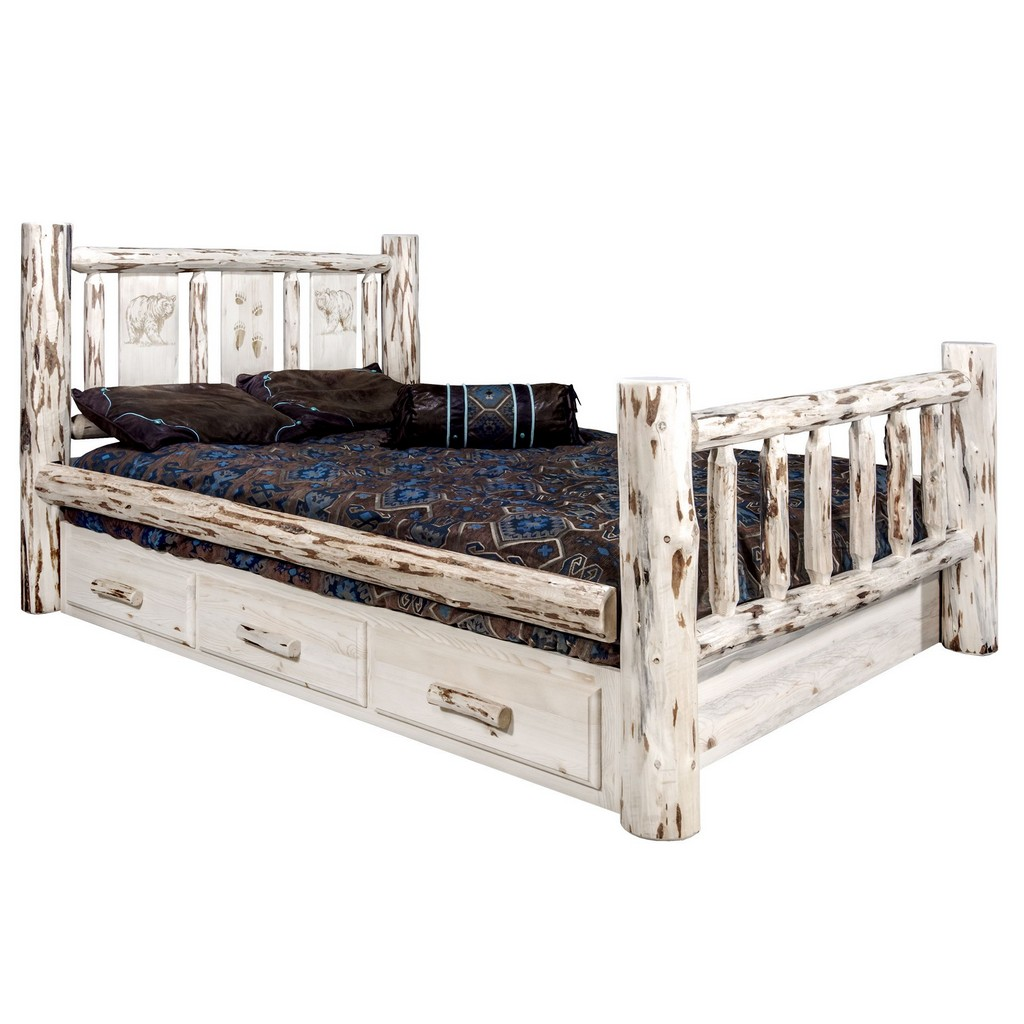 Twin Storage Bed Engraved Bear Design