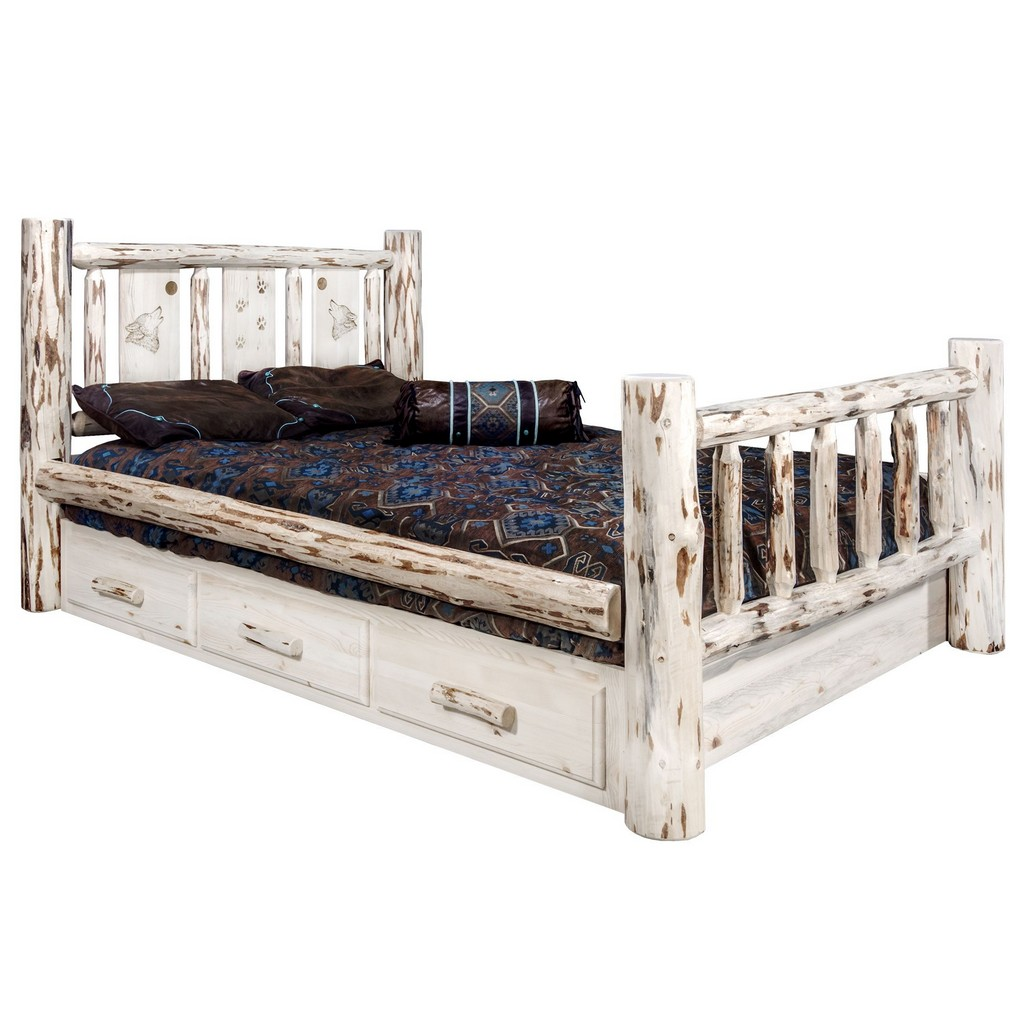 Twin Storage Bed Engraved Wolf Clear Lacquer