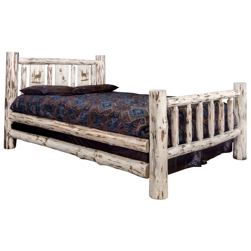 Twin Bed Engraved Elk Clear Lacquer