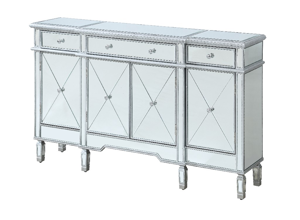 Coast To Coast Four Door Three Drawer Credenza Tinsel Silver Metallic