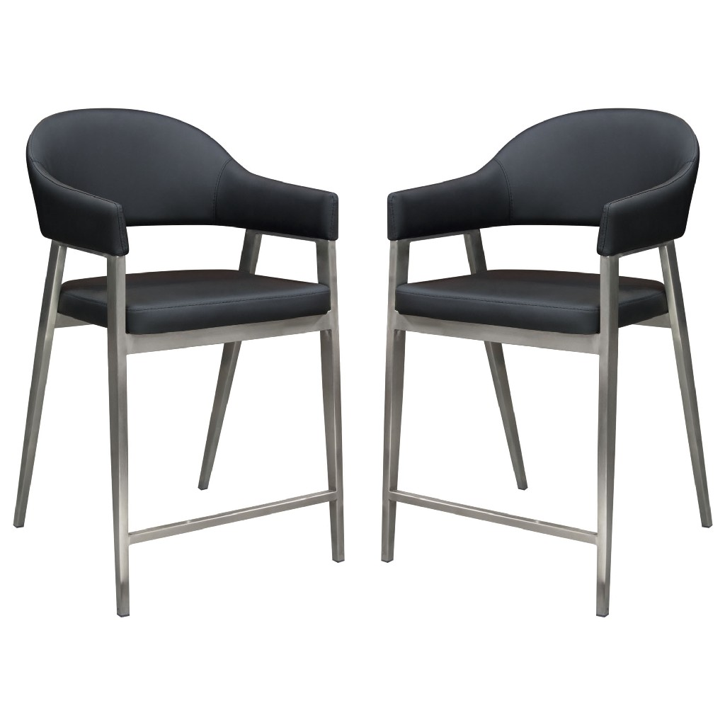 Adele Set of Two Counter Height Chairs in Black Leatherette w/ Brushed Stainless Steel Leg - Diamond Sofa ADELESTBL2PK
