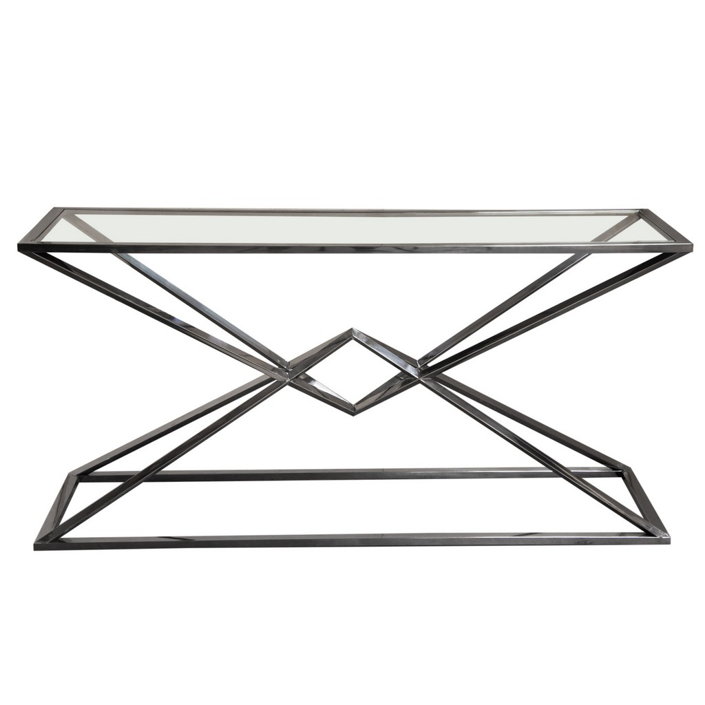 Aria Rectangle Stainless Steel Console Table w/ Polished Black Finish Base & Clear, Tempered Glass Top - Diamond Sofa ARIACSBL