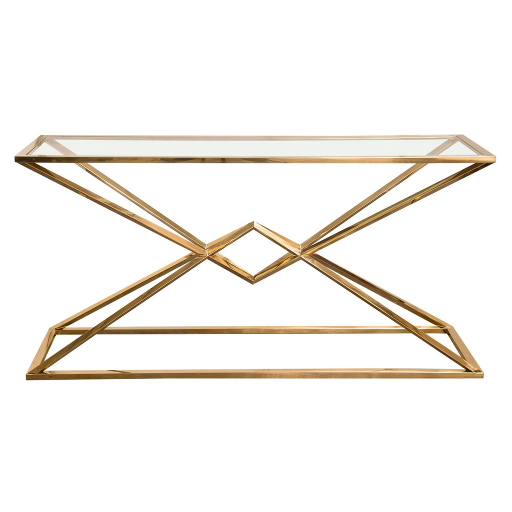 Aria Rectangle Stainless Steel Console Table w/ Polished Gold Finish Base & Clear, Tempered Glass Top - Diamond Sofa ARIACSGD