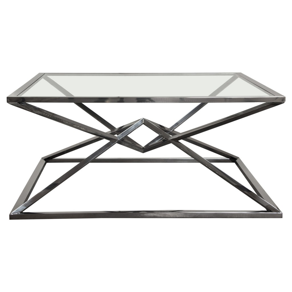 Aria Square Stainless Steel Cocktail Table w/ Polished Black Finish Base & Clear, Tempered Glass Top - Diamond Sofa ARIACTBL