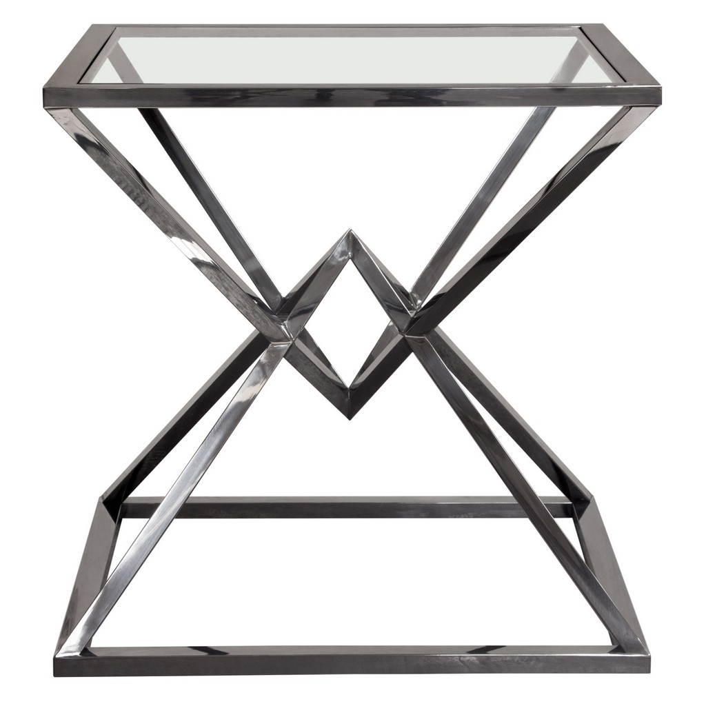 Aria Square Stainless Steel End Table w/ Polished Black Finish Base & Clear, Tempered Glass Top - Diamond Sofa ARIAETBL