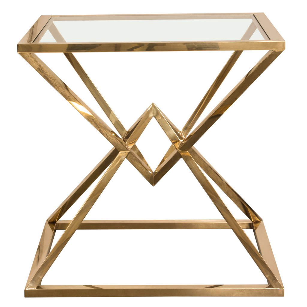 Aria Square Stainless Steel End Table w/ Polished Gold Finish Base & Clear, Tempered Glass Top - Diamond Sofa ARIAETGD