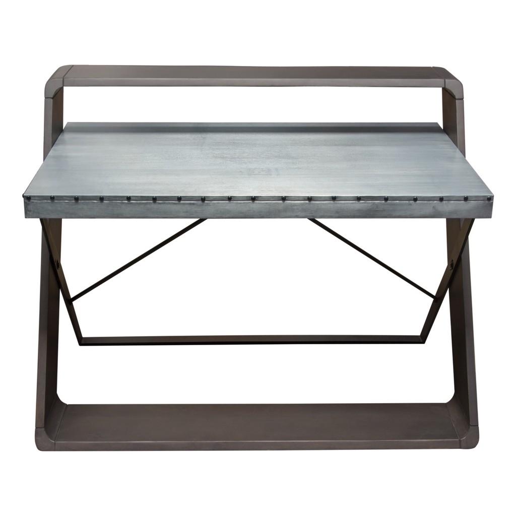 Diamond Sofa Barclay Zinc Top Writing Desk Mango Wood Iron Base