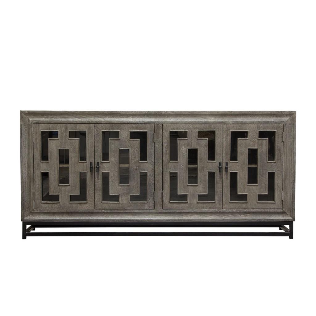 "Bastille 76"" 4-Door Solid Mango Wood Sideboard in Walnut Finish w/ Black Iron Legs - Diamond Sofa BASTILLESBWA"