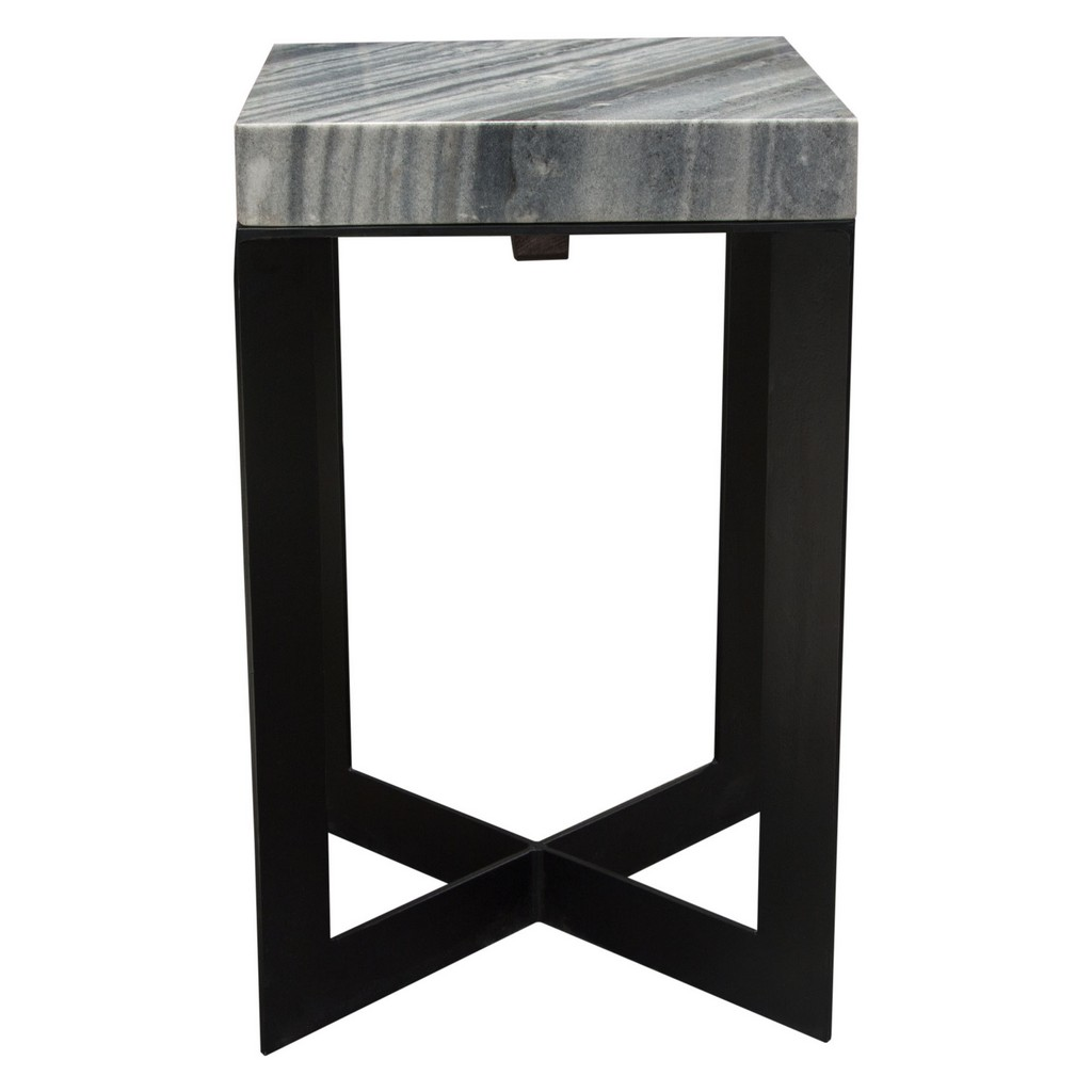 Blaine Accent Table w/ Genuine Grey Marble Top w/ Black Iron Base - Diamond Sofa BLAINEATGR