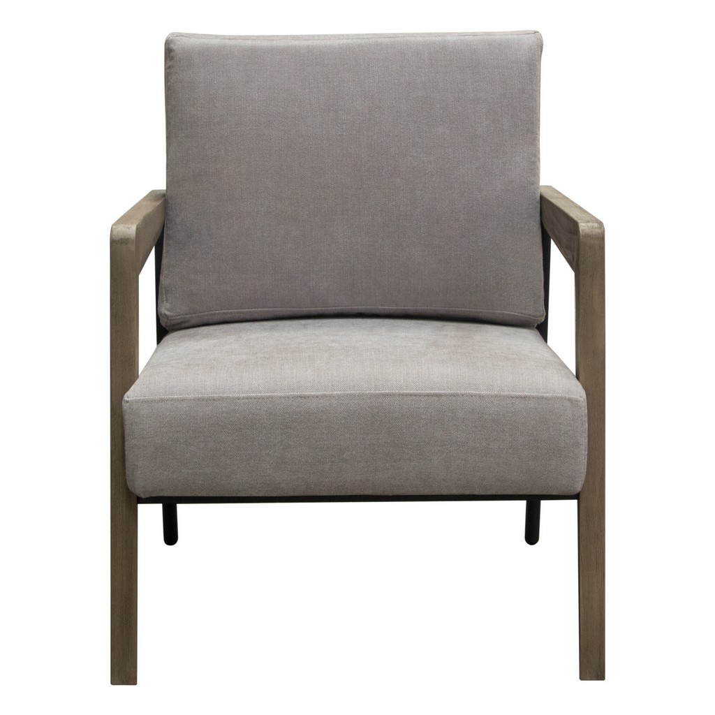 Blair Accent Chair in Grey Fabric with Curved Wood Leg Detail - Diamond Sofa BLAIRCHGR