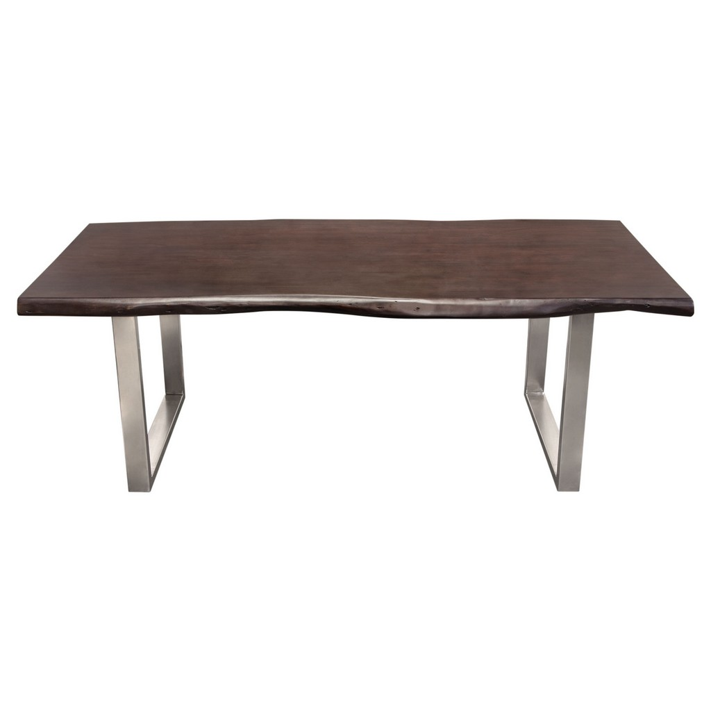 Bowen Solid Acacia Wood Top Dining Table with Live Edge in Espresso Finish w/ Nickel Plated Base - Diamond Sofa BOWENDTES