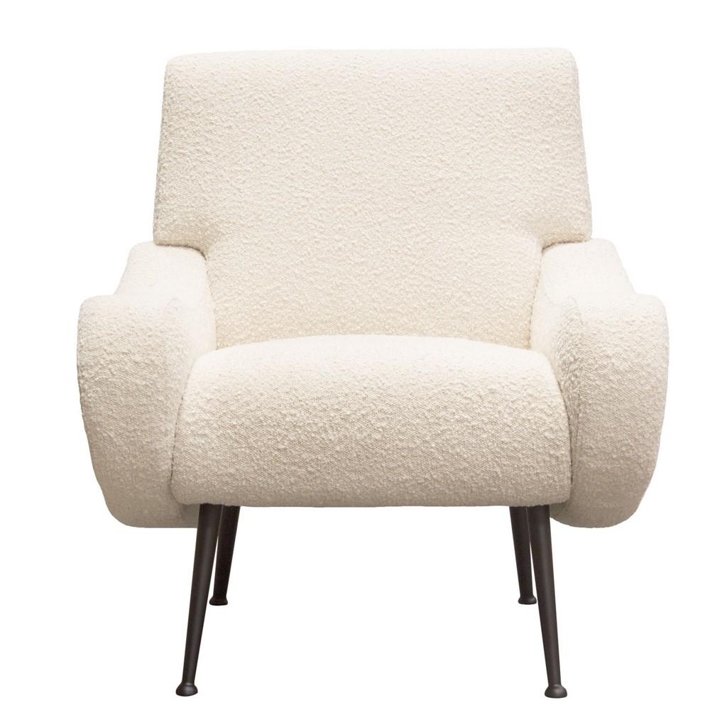 Cameron Accent Chair Bone Boucle Textured Fabric Black Leg