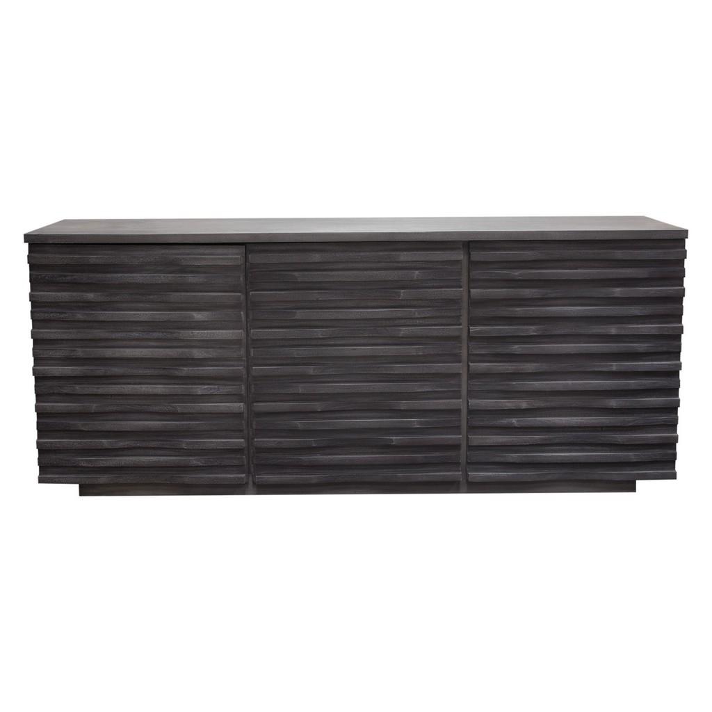 "Bastille 69"" 3-Door Solid Acacia Wood Sideboard in Smoke Grey Finish - Diamond Sofa LANDSCAPESBGR"