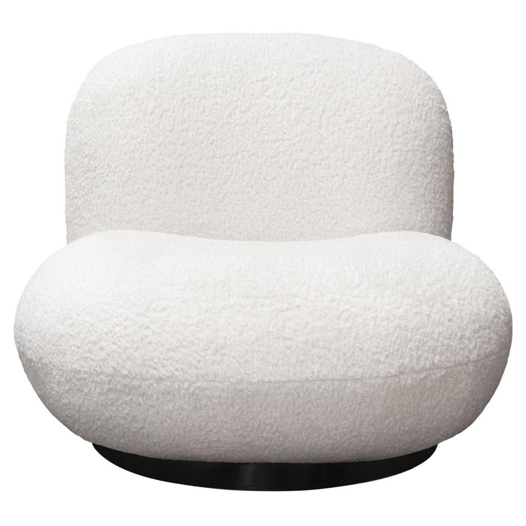 Simone Swivel Accent Chair White Faux Sheepskin Fabric