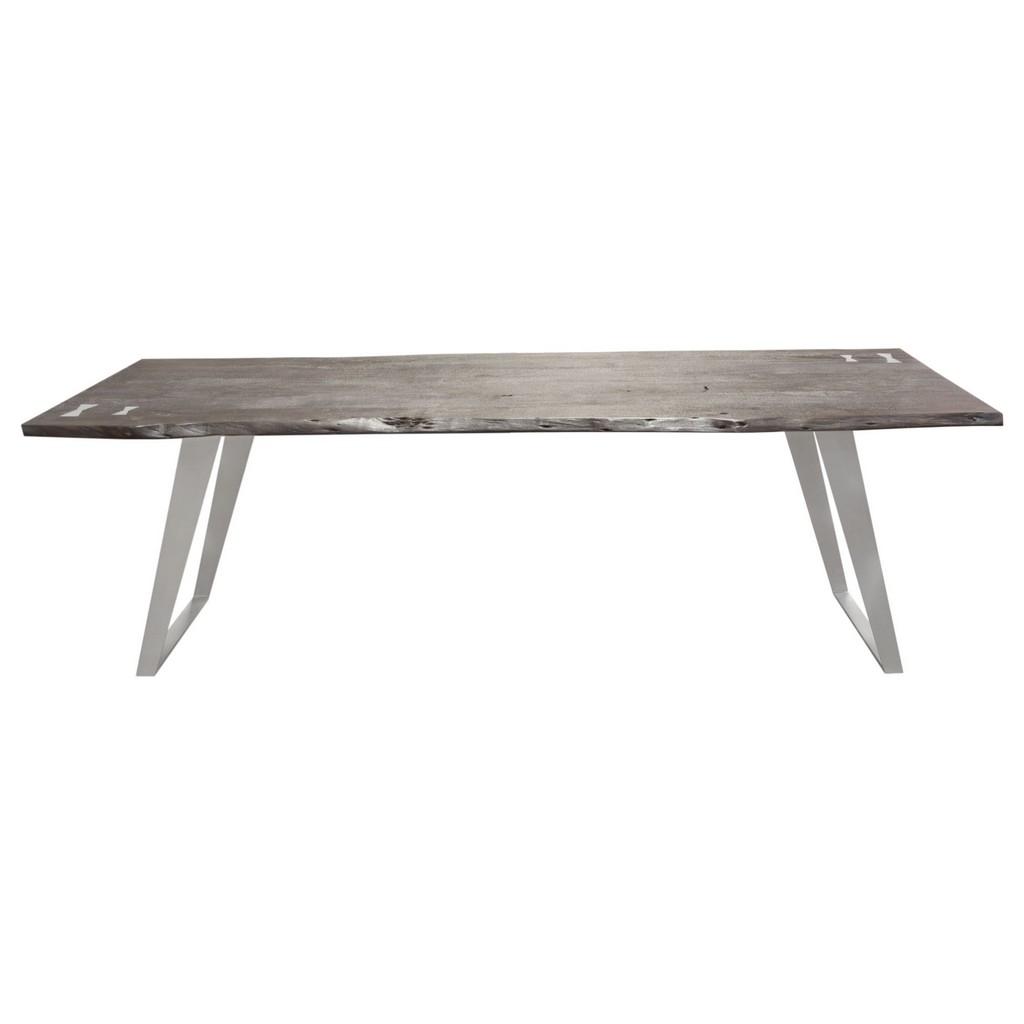 Titan Acacia Wood Dining Table Silver Metal Inlay Base