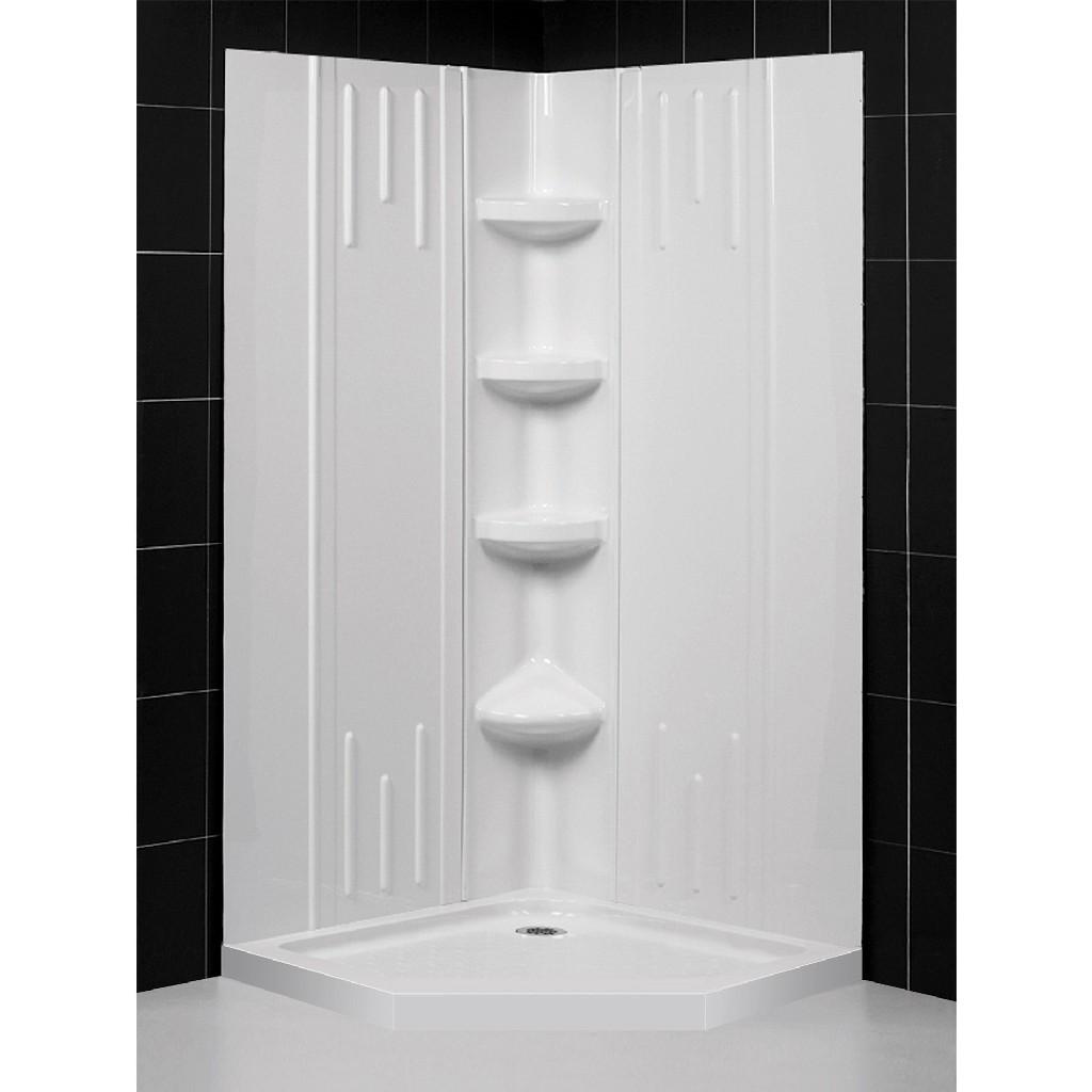 "DreamLine 40""x 40""x 75 5/8""H Neo-Angle Shower Base & QWALL-2 Acrylic Corner Backwall Kit in White - Dreamline DL-6042C-01"