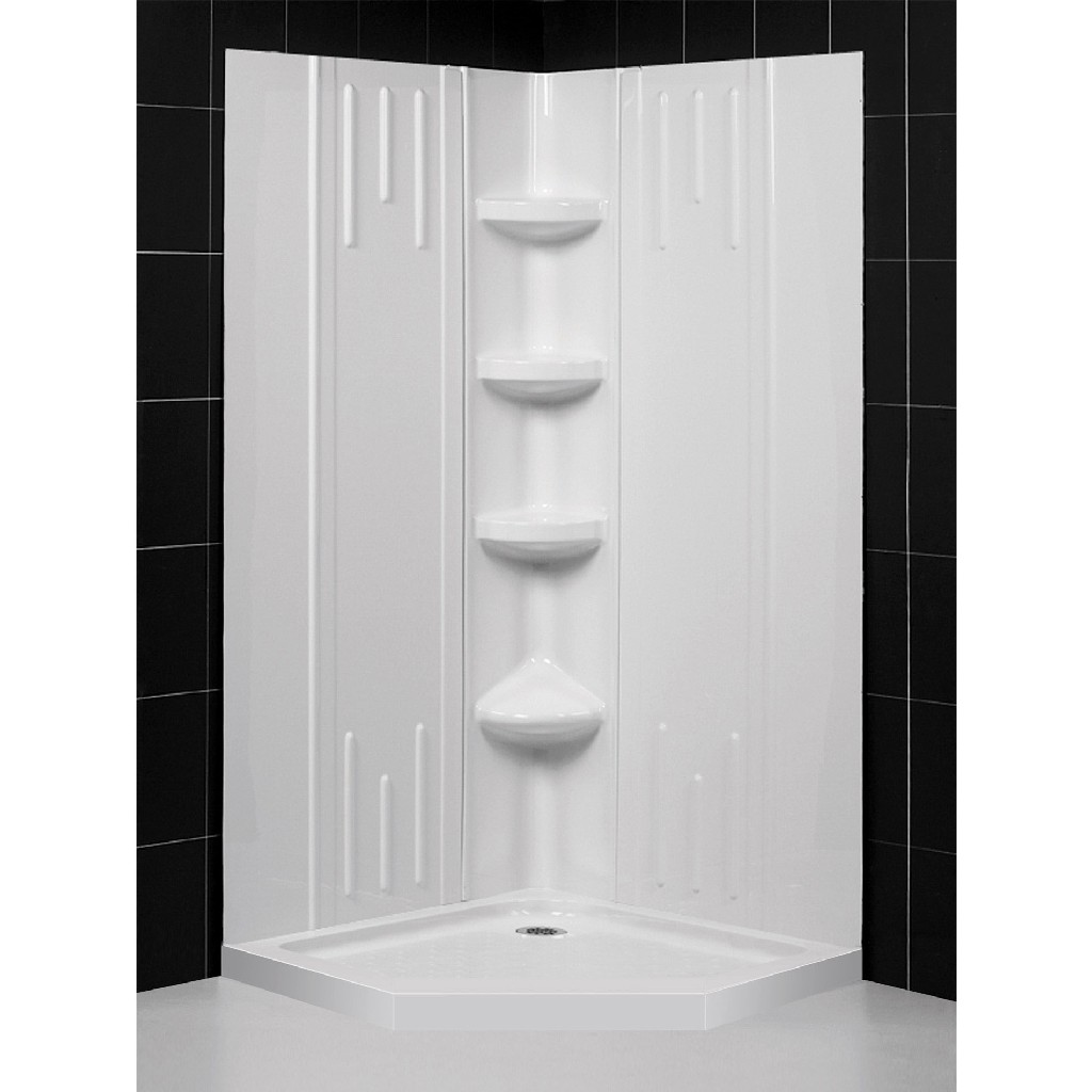 "DreamLine 42""x 42""x 75 5/8""H Neo-Angle Shower Base & QWALL-2 Acrylic Corner Backwall Kit in White - Dreamline DL-6043C-01"