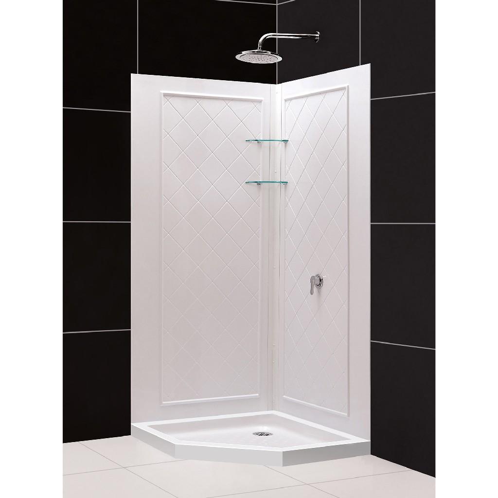"DreamLine 42""x 42""x 76 3/4""H Neo-Angle Shower Base & QWALL-4 Acrylic Corner Backwall Kit in White - Dreamline DL-6047C-01"