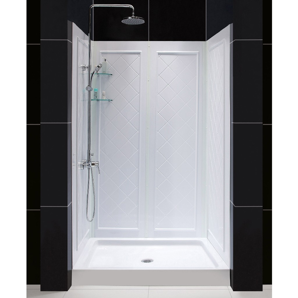 "DreamLine 32""D x 48""W x 76 3/4""H Center Drain Acrylic Shower Base & QWALL-5 Backwall Kit In White - Dreamline DL-6070C-01"