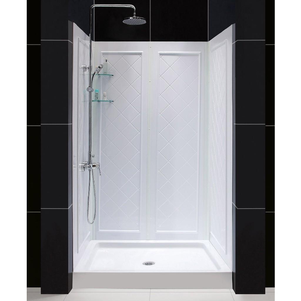 "DreamLine 34""D x 48""W x 76 3/4""H Center Drain Acrylic Shower Base & QWALL-5 Backwall Kit In White - Dreamline DL-6071C-01"