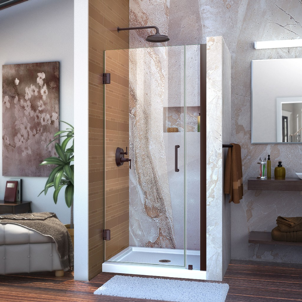 Frameless Hinged Shower Door Clear Glass Door Oil Rubbed Bronze