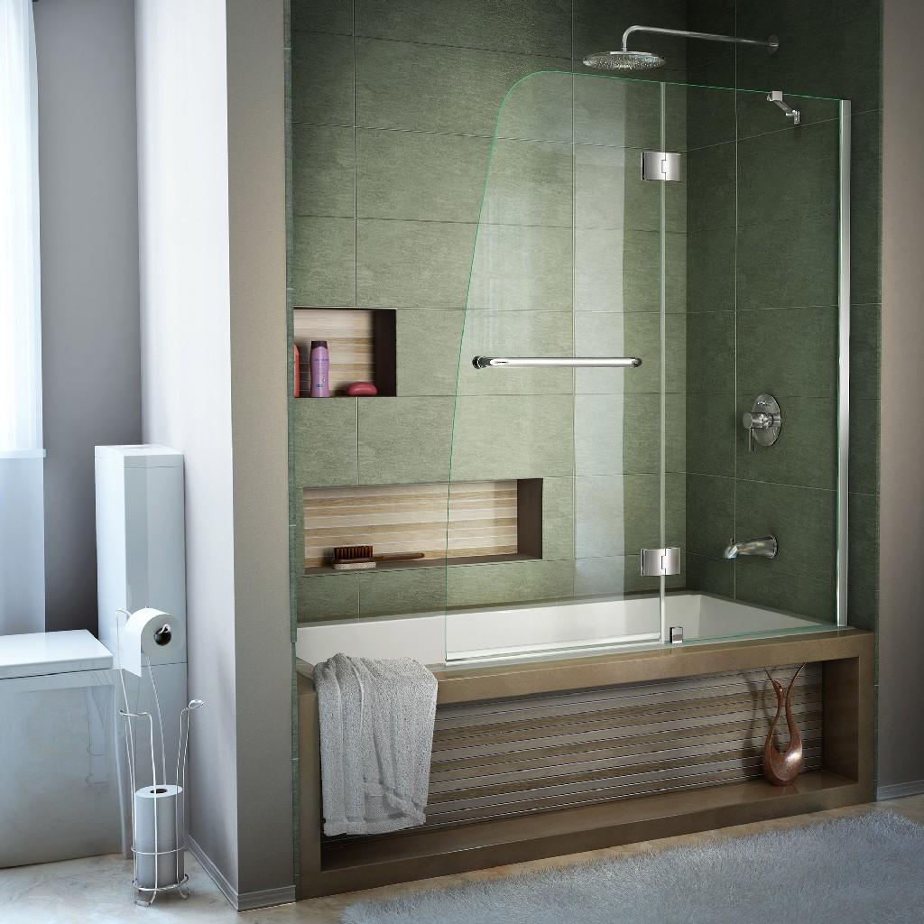 """DreamLine Aqua 48"""" Frameless Hinged Tub Door, Clear 1/4"""" Glass Door, Chrome Finish - Dreamline SHDR-3148586-01"""