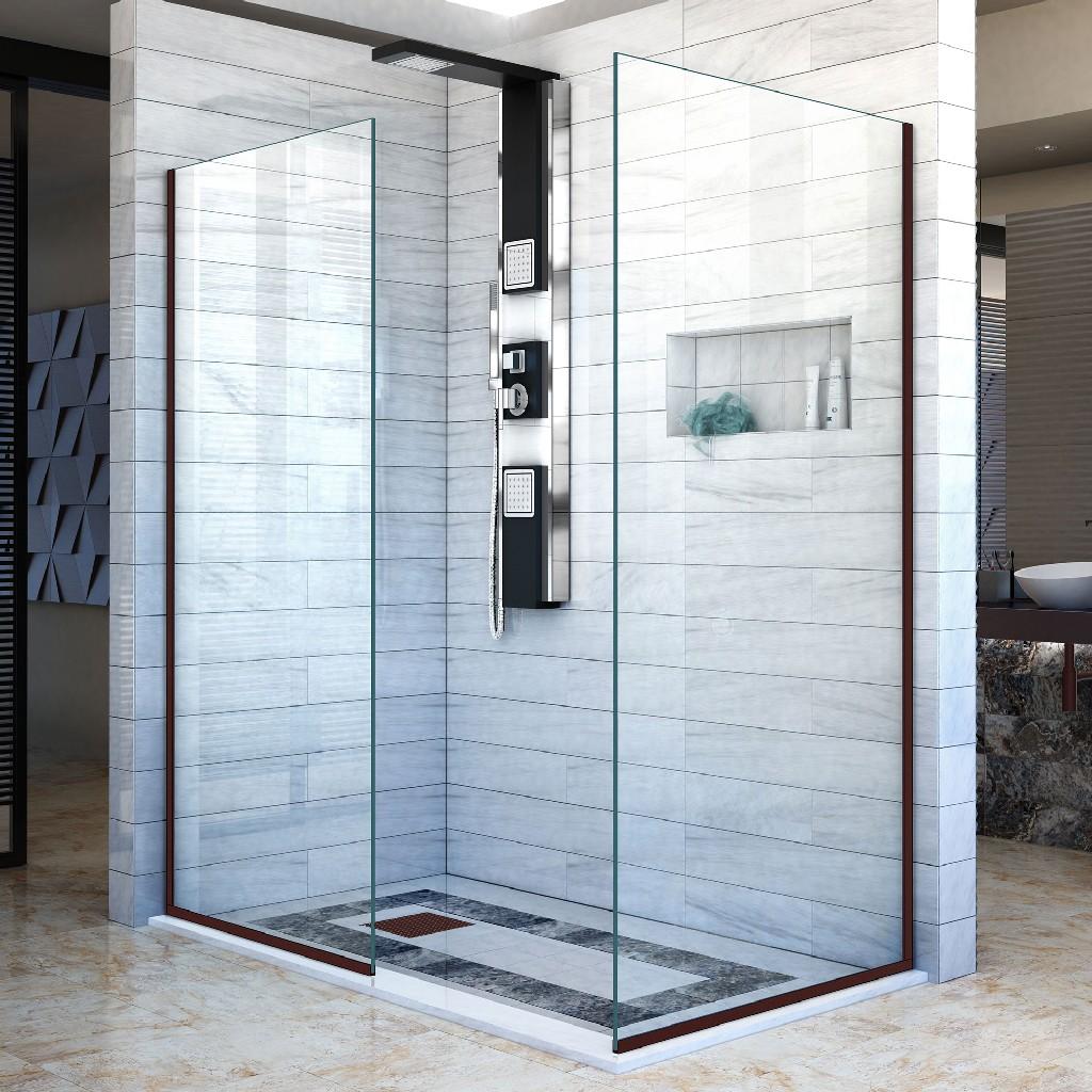 Frameless Shower Door Two Glass Panels: Oil Rubbed Bronze