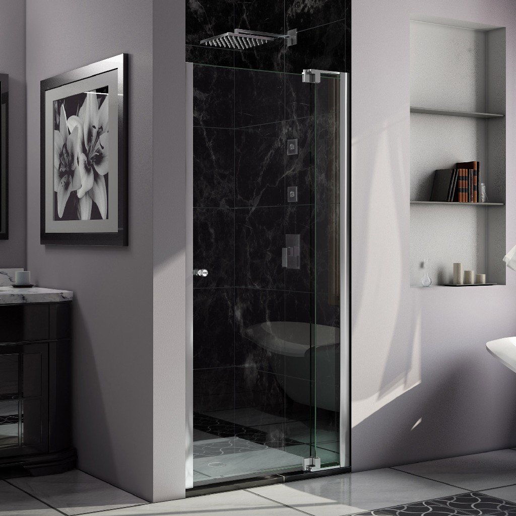 """DreamLine Allure 30 to 31"""" Frameless Pivot Shower Door, Clear Glass Door in Chrome Finish - Dreamline SHDR-4230728-01"""