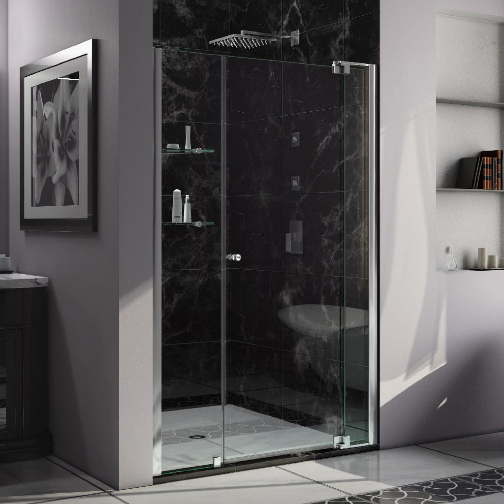 """DreamLine Allure 42 to 43"""" Frameless Pivot Shower Door, Clear Glass Door in Chrome Finish - Dreamline SHDR-4242728-01"""