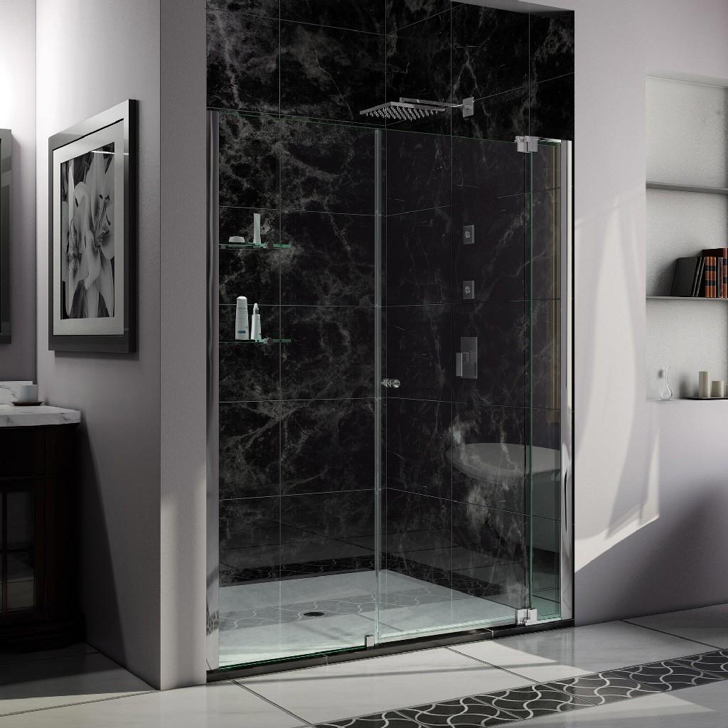 """DreamLine Allure 54 to 55"""" Frameless Pivot Shower Door, Clear Glass Door in Chrome Finish - Dreamline SHDR-4254728-01"""